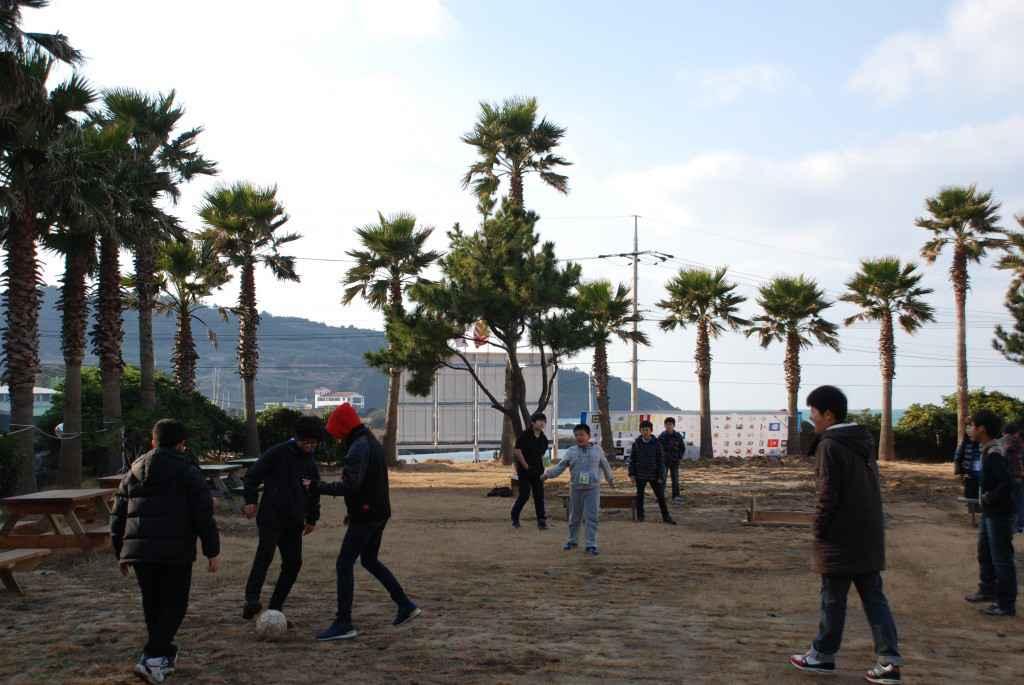 jeju english village students soccer