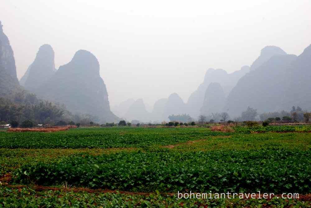 The scenery around Yangshuo, Guangxi, China