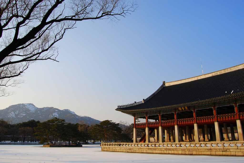 Gyeongbok Palace in Seoul, Korea in winter.