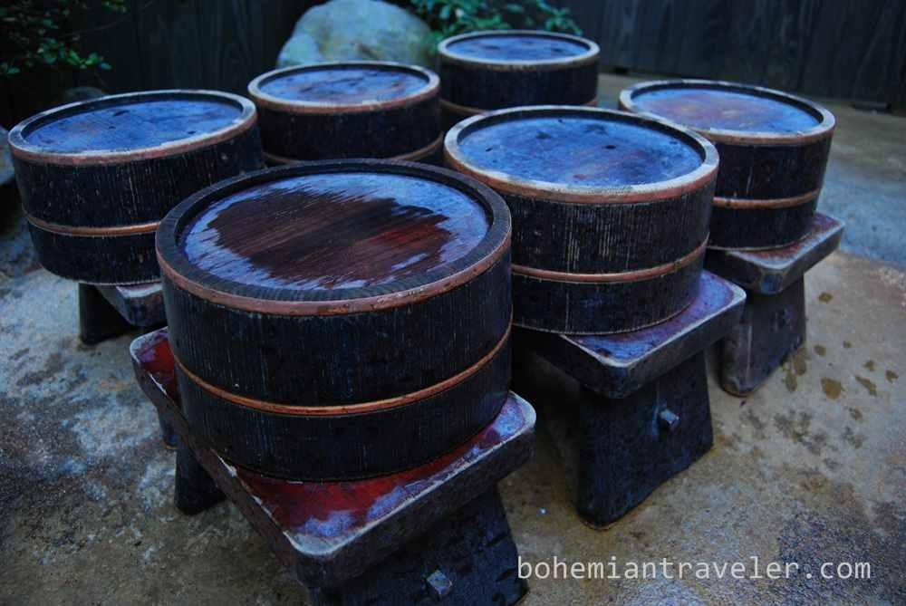 buckets at Okyakuya ryokan onsen at Kurokawa Onsen village Kyushu Japan