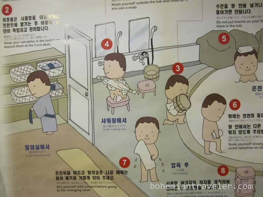 A multi-language chart showing onsen etiquette.